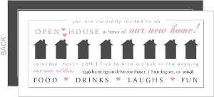 Gray And Pink Hearts Open House Invitation