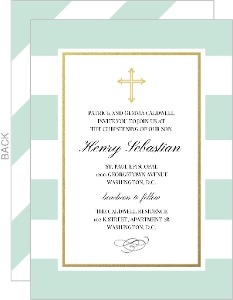 Classic Mint and Gold Stripe Christening Invitation