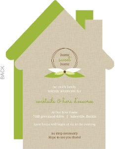 Taupe And Green Leaf Monogram Set Housewarming Party Invitation