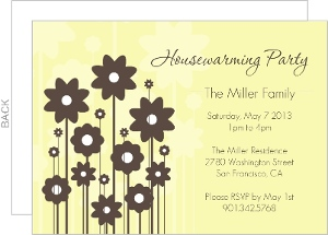 Floral Brown And Yellow Housewarming Invite