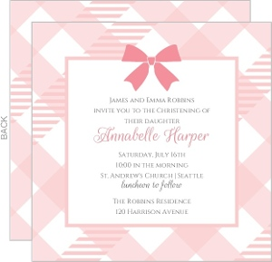 Sweet Gingham Christening Invitation
