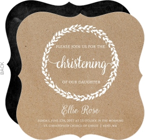 Kraft Painted Wreath Christening Invitation