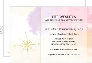 Compass Watercolor Housewarming Invitation
