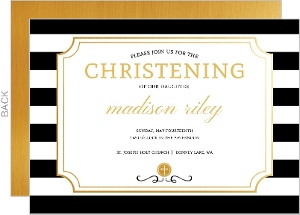 Modern Stripes Christening Invitation