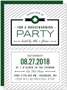 Modern Stripe Pattern Housewarming Party Invitation