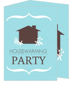 Blue And Brown Floral Home Housewarming Invitation