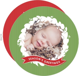Red and Green Wreath Circle Holiday Birth Announcement