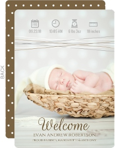 Cute Neutral Icons Baby Birth Announcement