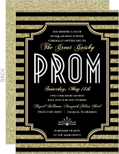 Roaring Glitter Gold Prom Invitation