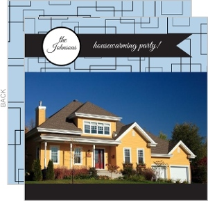Blue Retro Pattern Housewarming Party Invitation