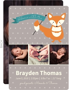 Cute Little Fox Baby Birth Announcement