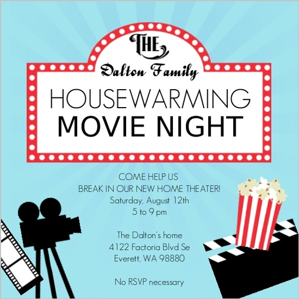 Movie Night Housewarming Party Invitation Housewarming Invitations