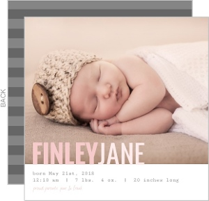 Precious Pink and Gray Baby Birth Announcement