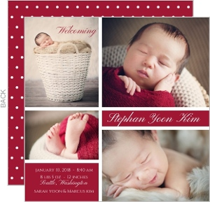Classic Detail Photo Grid Baby Birth Announcement