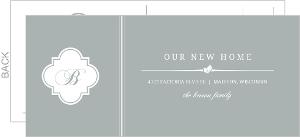 Gray And White Elegant Monogram Postcard Moving Announcement