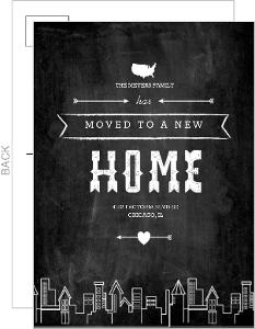 Modern Chalkboard City Postcard Moving Announcement
