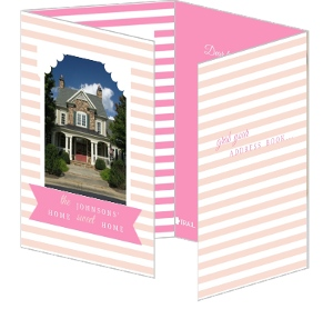 Pink Striped Quad Fold Moving Announcement