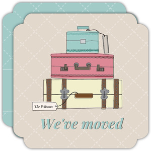 Vintage Luggage Trunks Moving Announcement