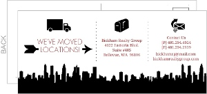 Black Infographic Icons Postcard Business Moving Announcement