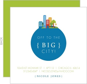 Blue And Green Cityscape Moving Announcement
