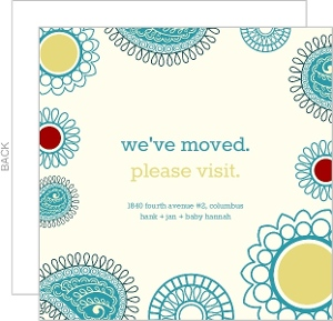 Colorful Paisley Moving Announcement