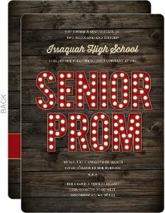 Rustic Dark Woodgrain Senior Prom Invitation