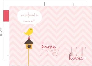 Bird House Postcard Moving Announcement
