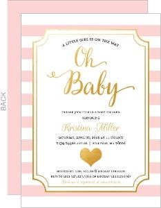 Modern Chic Pink Girl Baby Shower Invitation