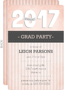 Gray and Pink Stripes Graduation Invitation