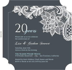 Blue And White Lace 20Th Anniversary Invitation