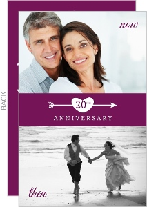 Flashback Purple and White Heart and Arrow 20th Anniversary Invitation
