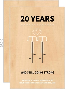 Wood Grain Two Bikes 20th Anniversary Invitation
