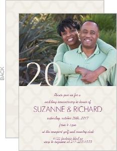 Cream and Purple 20th Anniversary Invitation