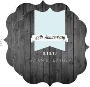 Rustic Gray Woodgrain 35th Anniversary Invitation