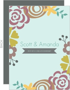 Mint Floral 35th Wedding Invitation