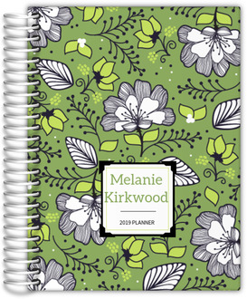 Green & White Floral Pattern Planner