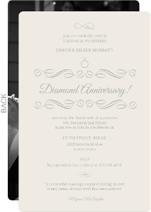 Cream And Gray Elegant Diamond Anniversary Invitation