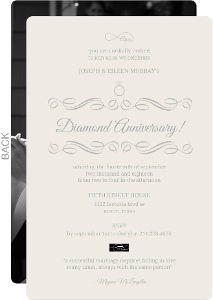 Cream and Gray Elegant Diamond Anniversary Invitation