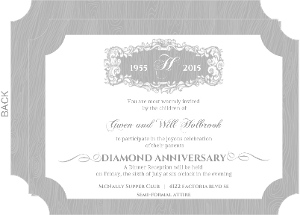 Elegant Gray Filigree Frame Diamond 60Th Anniversary Invitation