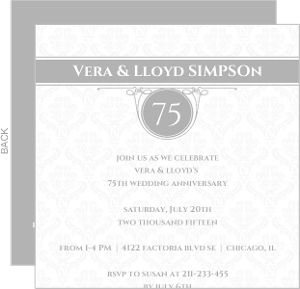 White Diamond 75Th Anniversary Invitation