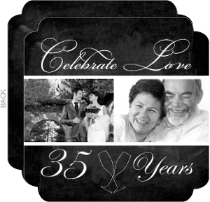 Chalkboard Photo 35Th Anniversary Invitation