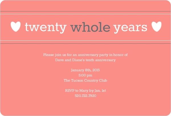 20th anniversary invitations, Party invitations
