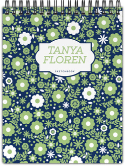 Green & White Floral Pattern Notepad