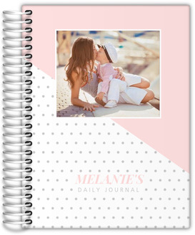 Soft Blush Polka Dot Photo Custom Journal