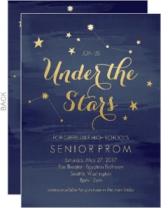 Watercolor Constellation Prom Invitation