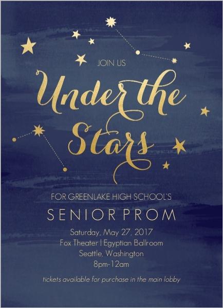 Watercolor Constellation Prom Invitation | Prom Invitations