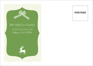 Green Ribbons And Reindeer Custom Envelope