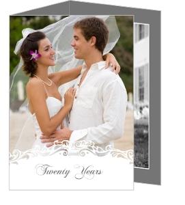 White Flourish 20Th Wedding Anniversary Party Invitations