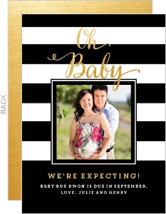 Modern Stripes Pregnancy Announcement
