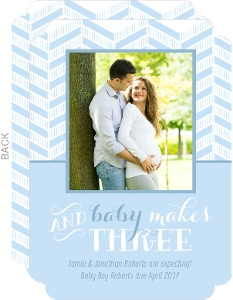 Blue Chevron Baby Makes Three Pregnancy Announcement